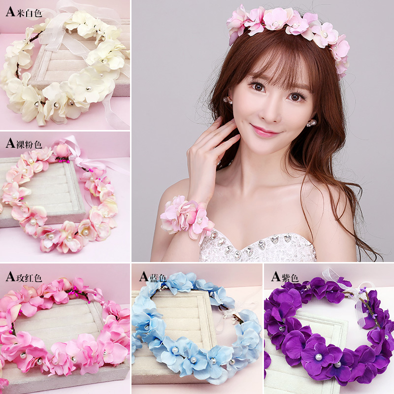 Cernmei/beauty pink wrist flower bridesmaid flower girl children's day han style seaside honeymoon bridal wreath headdress