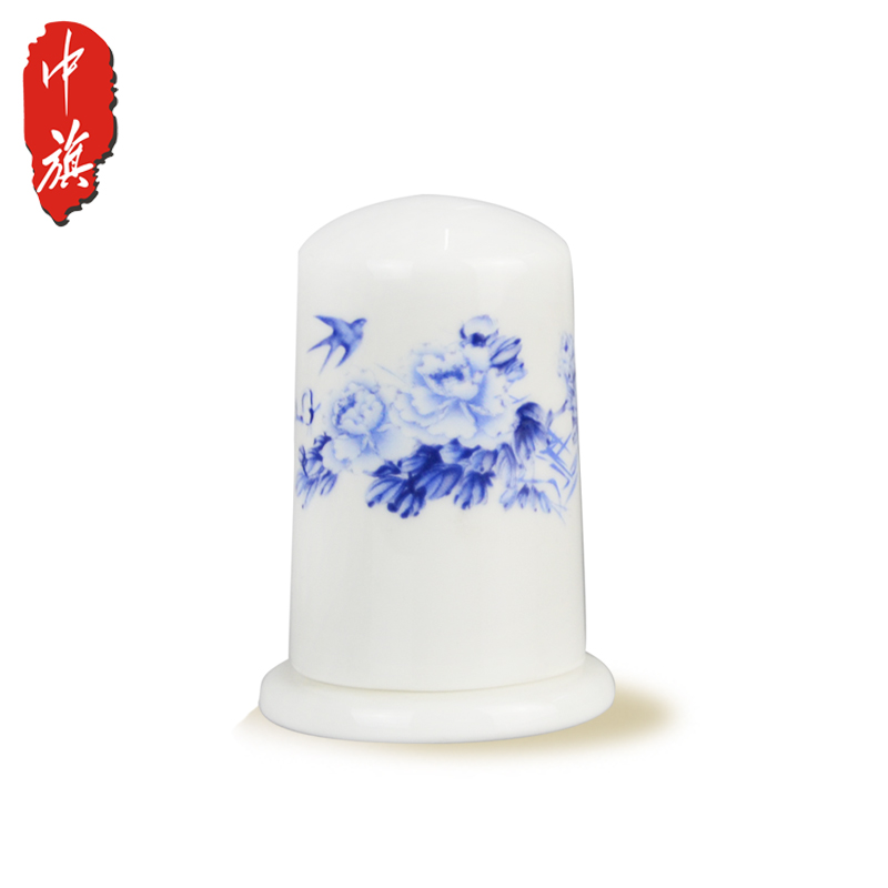 [Chambon] blue and white porcelain bone china toothpick holder creative convenient hotel home round shaped ceramic toothpick box toothpick holder