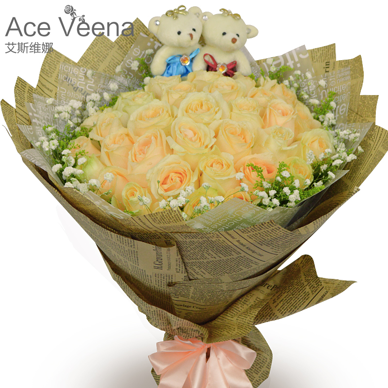 Champagne red rose flower gift wujiang shaoguan qujiang浈江shixing confession birthday bouquet of flowers city courier