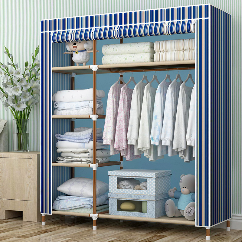 Chaojie simple cloth wardrobe closet oxford cloth wardrobe combination steel storage assembly plus crude steel reinforcement cloth wardrobe closet