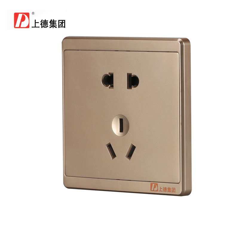 Chdele plug 86 type wall switch power socket panel champagne five five hole socket surface 5 Hole