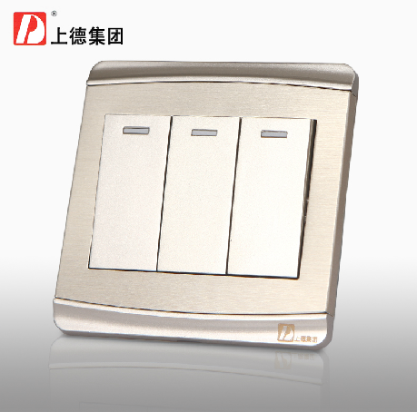 Chdele triple switch three open dual control switch panel 3 to open 2 single control wall switch socket champagne gold