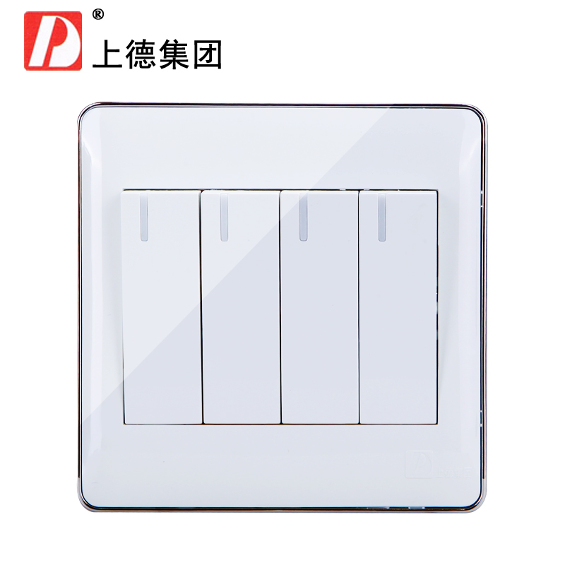 Chdele wall socket quarto single control switch panel to open 4 to open a single control switch 86 type quadruple silver edge