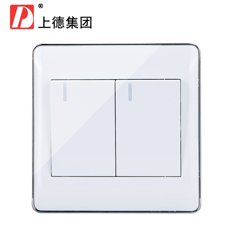 Chdele wall switch socket two open double open two billing control switch panel 2 silver side a double open two power control