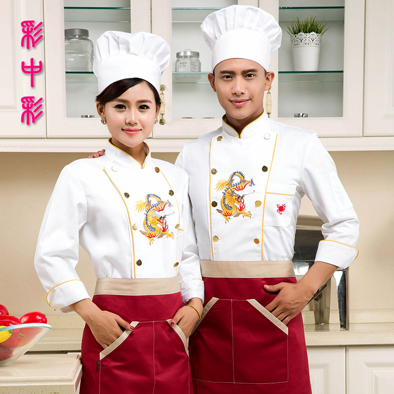 Chef uniforms fall and winter clothes chef service hotel chef kitchen room restaurant sleeved overalls fall and winter clothes embroidered dragon chef service