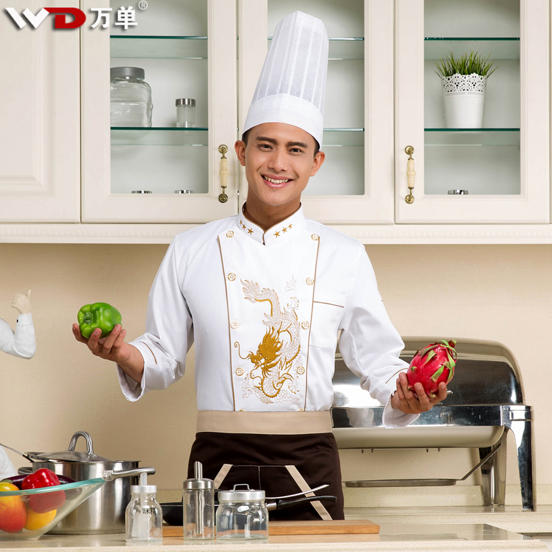 Chef uniforms fall and winter clothes hotel room restaurant kitchen chef uniforms fall and winter clothes embroidered dragon chef clothing long sleeve