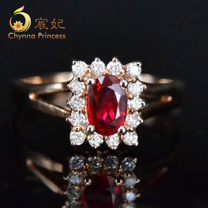 Chen fei jewelry 0.65ct 65ct natural colored pigeon blood red ruby ring k rose gold with diamonds multicolored custom