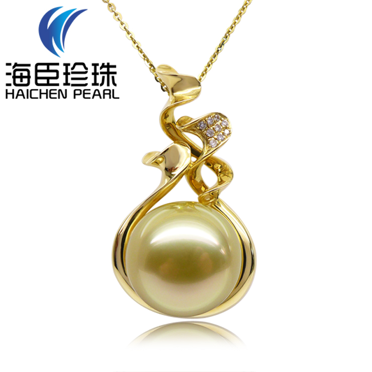 Chen sea pearl natural seawater pearl gold south sea pearl pendant in sterling silver circle extremely light 12.1 k kim m m fine