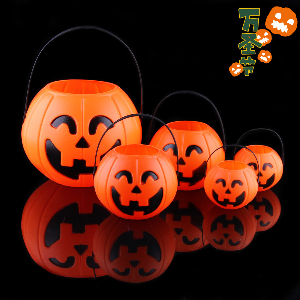 Chen tao halloween pumpkins bar scene of children's candy jar decorations props pumpkin cans pumpkin bucket portable