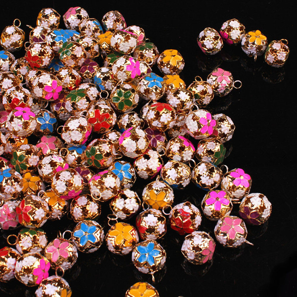 Chen tao ofwhich color small bell 18MM hollow flower metal flower color flower ball ball bell chimes bell bracelet