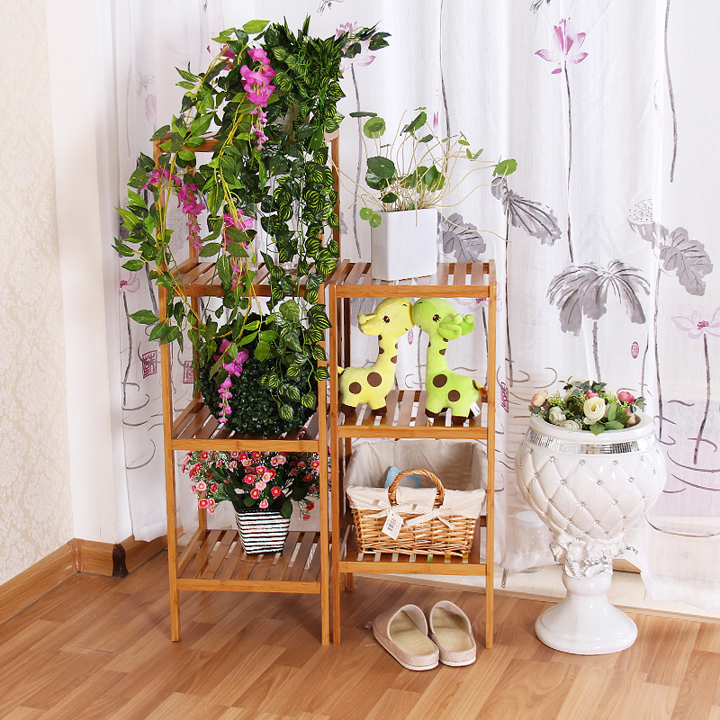 Chen yi gifted bamboo floor bathroom shelving racks multilayer solid wood living room storage rack toys angle bracket bulkhead