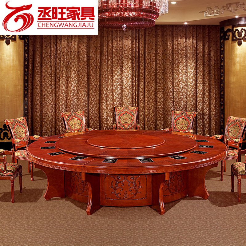 Cheng wang banquet table round table solid wood dining table pot electric cooker electric rotary table dining table and chairs combination