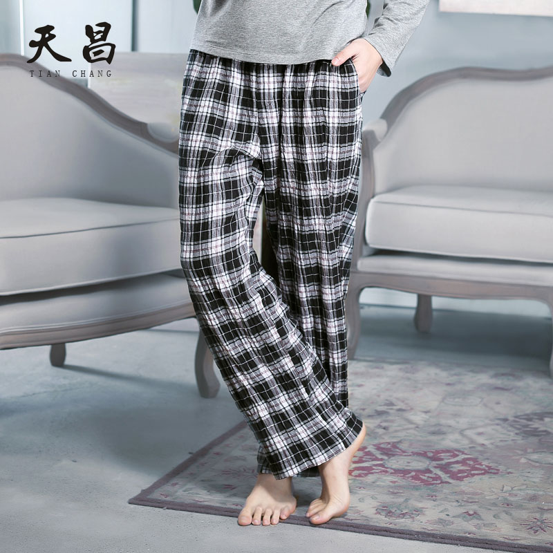 Cheong new men's classic plaid soft and comfortable home pants pajama pants before opening cotton seasons living pants