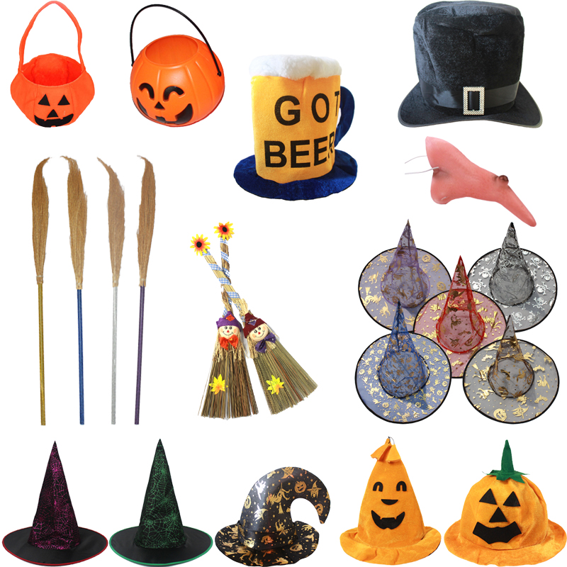Cheung man halloween supplies halloween pumpkin hat witches hat witch hat pointed hat witch broom witch hat pumpkin bag