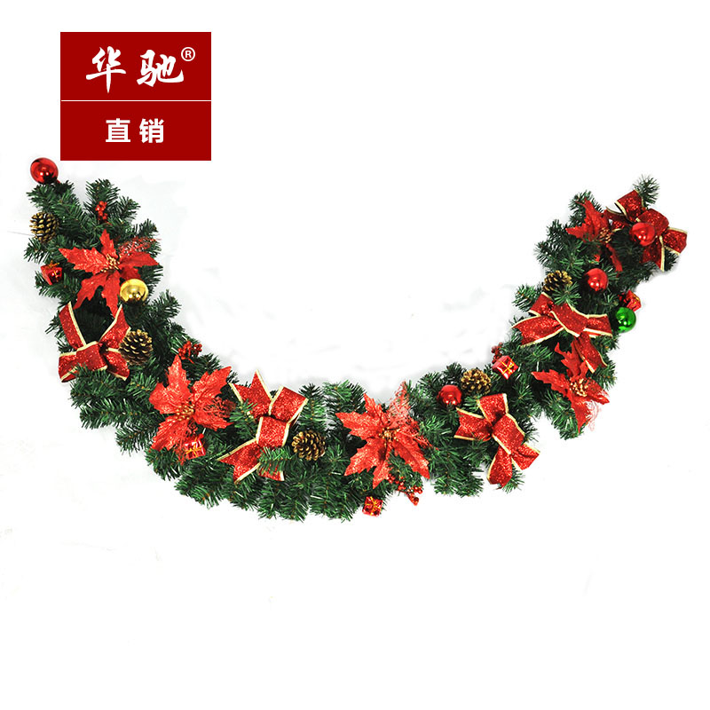Chi christmas decorations 2.7 m red christmas rattan cane flower bow korean version of the full onion powder christmas ornaments