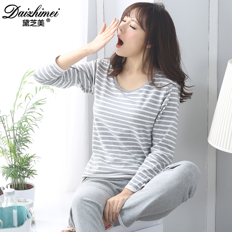 Chi mei dai korean ms. long sleeve pajamas pajamas female spring and autumn cotton bra with bra pad tracksuit suit