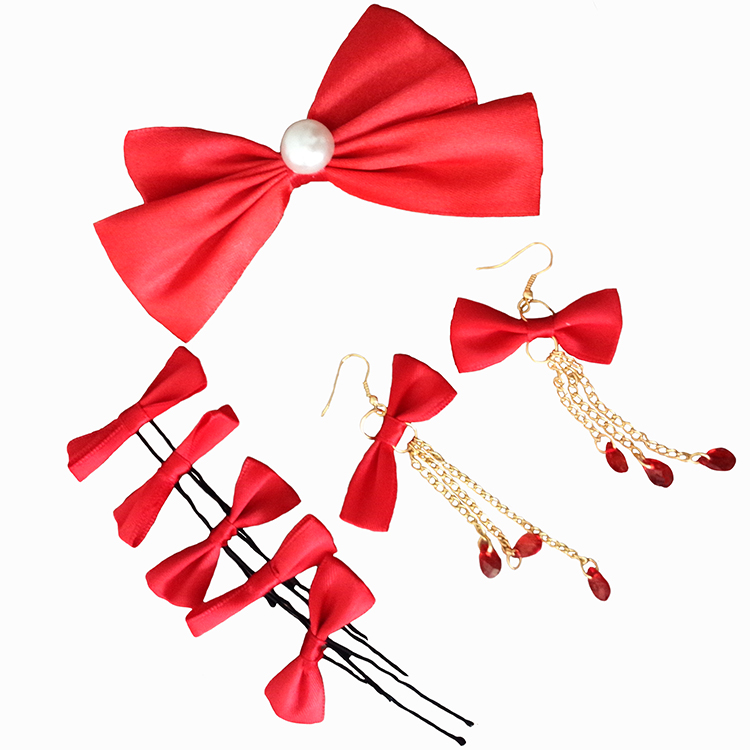 Chi meng early man korean red bow bridal hair accessories eight sets of wedding dress bridal headdress flower head