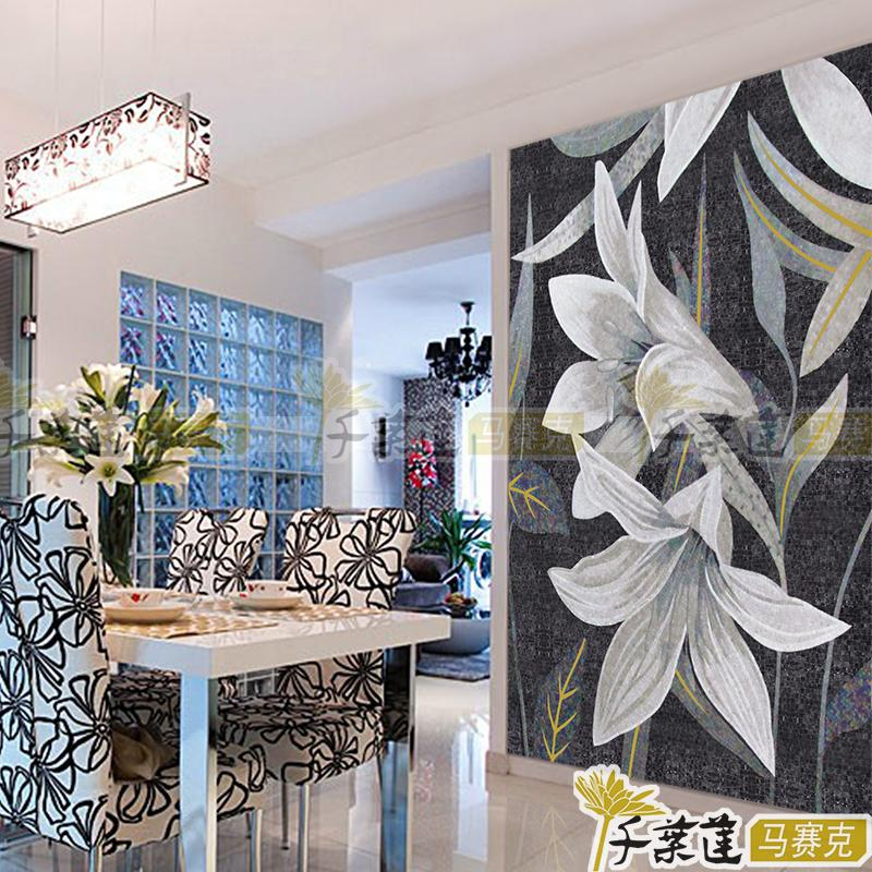 Chiba lotus ice jade mosaic tile mosaic puzzle cut painting in black and white modern glass dining porch office baihe.com