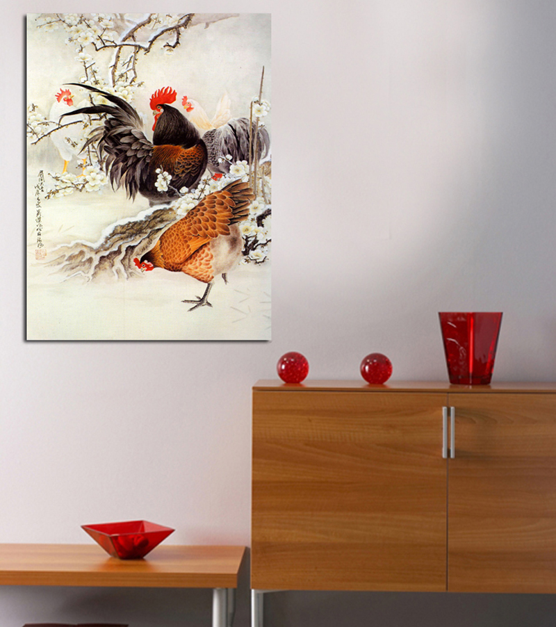 Chicken auspicious chinese painting paintings restaurant entrance hallway frameless painting wall painting decorative painting modern restaurant prints
