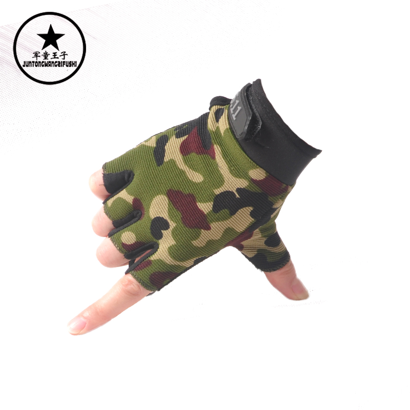 Children boys and girls outdoor army green camouflage gloves half finger gloves riding gloves slip neutral line performance sports goods