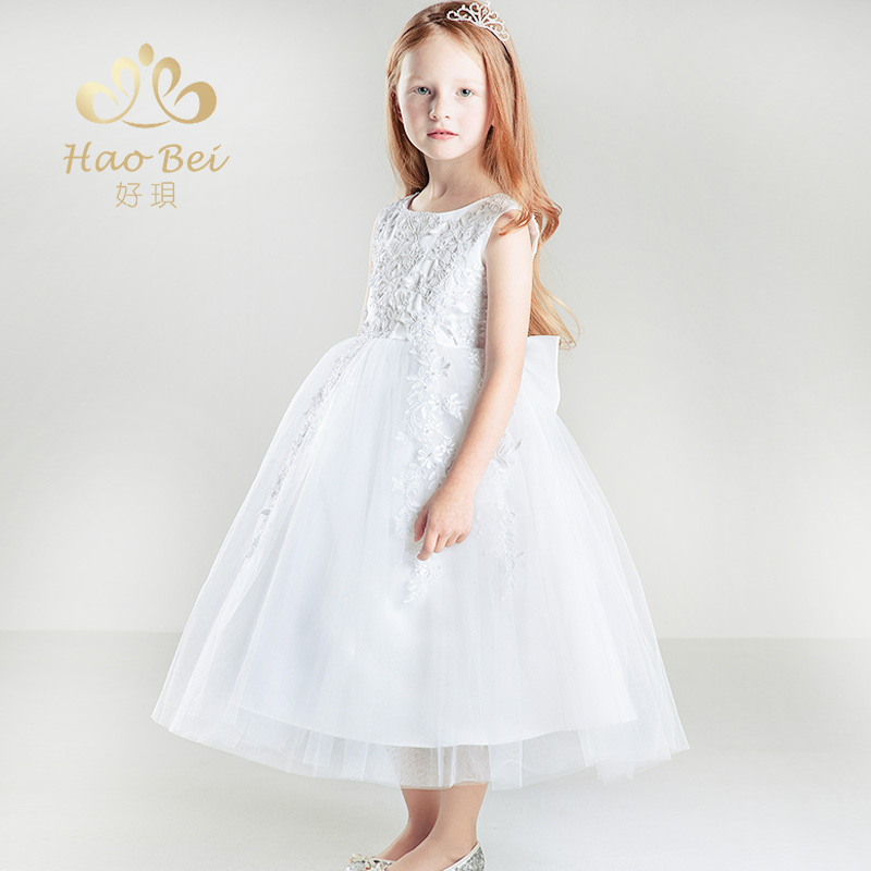 Children dress princess dress tutu dress evening dress moderator piano performance clothing girls dress white wedding dress autumn