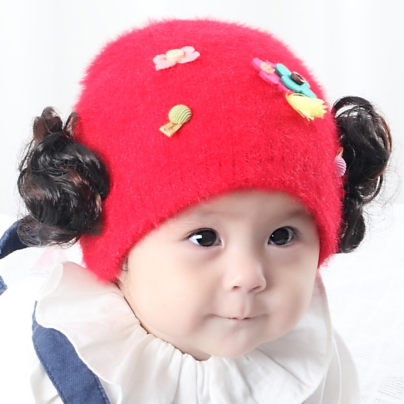 Children female baby hat hedging korean version of spring models girls princess hat wig cap baby hat in autumn and winter 0-1-year-old