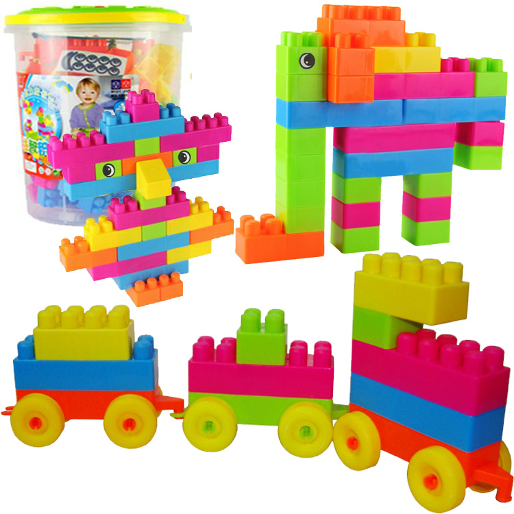 Children fight inserted plastic building blocks chunk of bottled baby educational toys disassembly intellectual toy building blocks of large particles