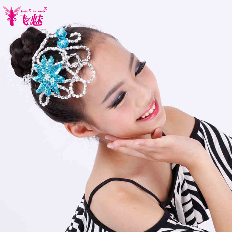 Children fly charm latin dance accessorise new female latin dance competition show children headdress hair accessories flower head drill