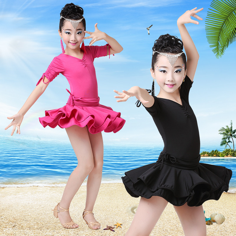 Children latin dance performance clothing girls clothes and dance clothes short sleeve dress children dance performance clothing clothes and summer