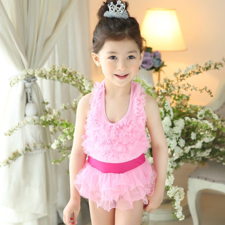 Toddler Baby Girl One Piece Swimsuit Kids Cute Swimwear Lace Dress Cover Up