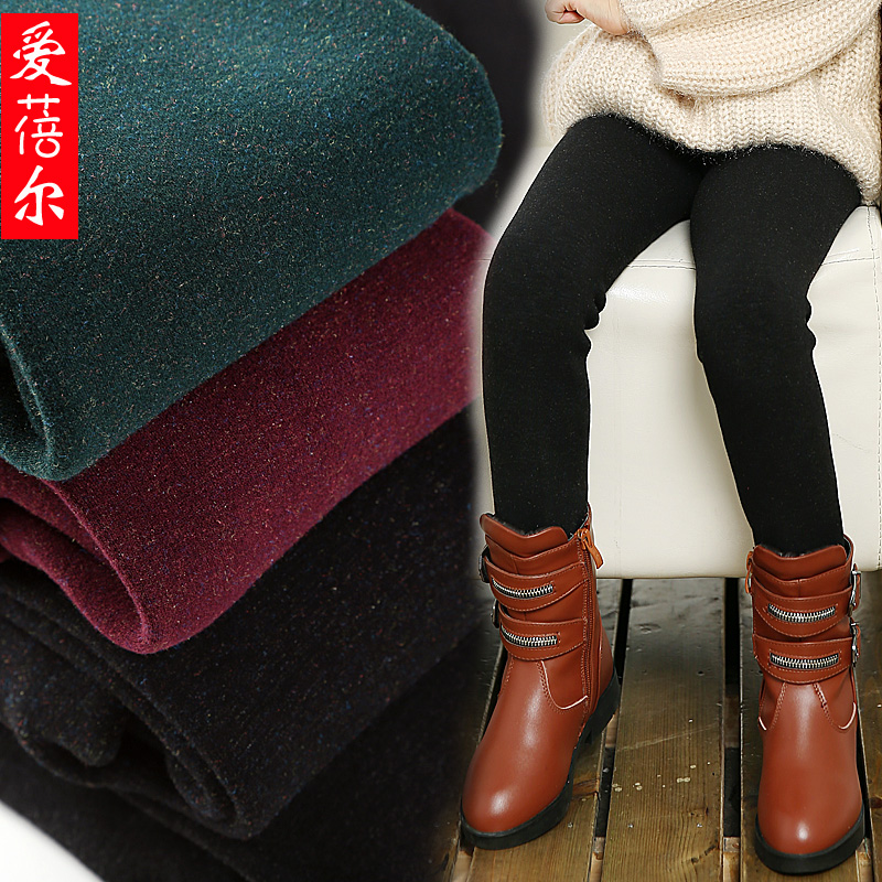 Children plus thick velvet step foot colorful cotton leggings autumn and winter children's clothing girls big virgin stretch boots warm pants pants