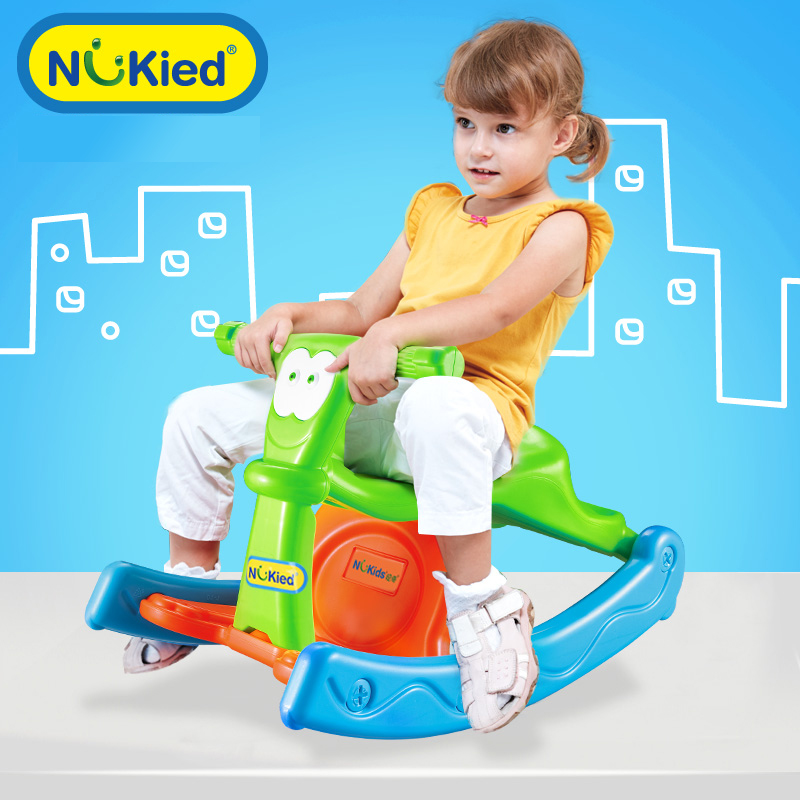 Children thick plastic rocking horse small horse baby niuqi large rocking horse rocking horse rocking horse toy baby birthday gift