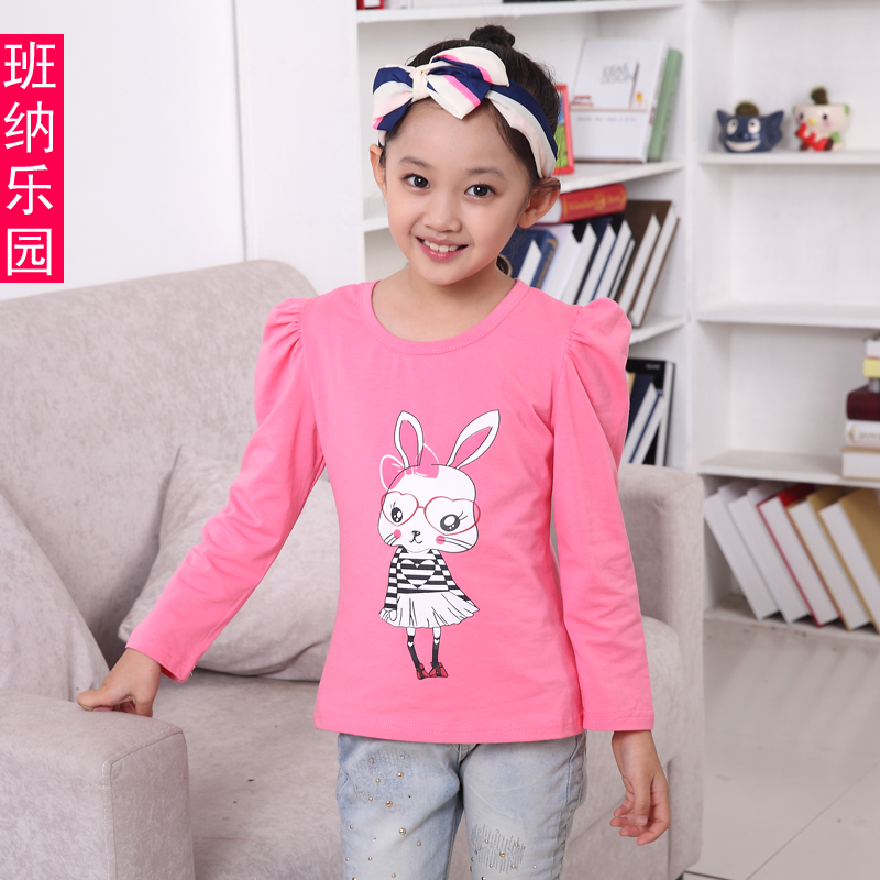 Children wear t-shirts for girls 2016 autumn paragraph girls baby cartoon long sleeve cotton round neck t-shirt 4 5 bottoming shirt 6 years old