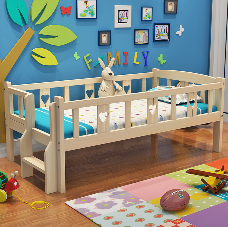 Children's beds with wooden fence twin bed boy girl princess bed wooden bed widening twin bed pine cot bed stitching