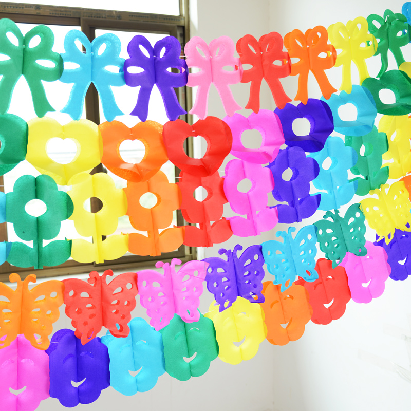 Children's birthday party supplies creative colorful paper garland paper kindergarten decorative paper flower decoration holiday decorations