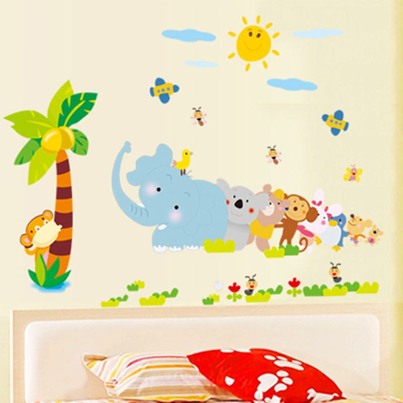Children's cartoon critters elephant film adhesive wall stickers environmental cartoon removable wall stickers living room glass wall stickers wall stickers