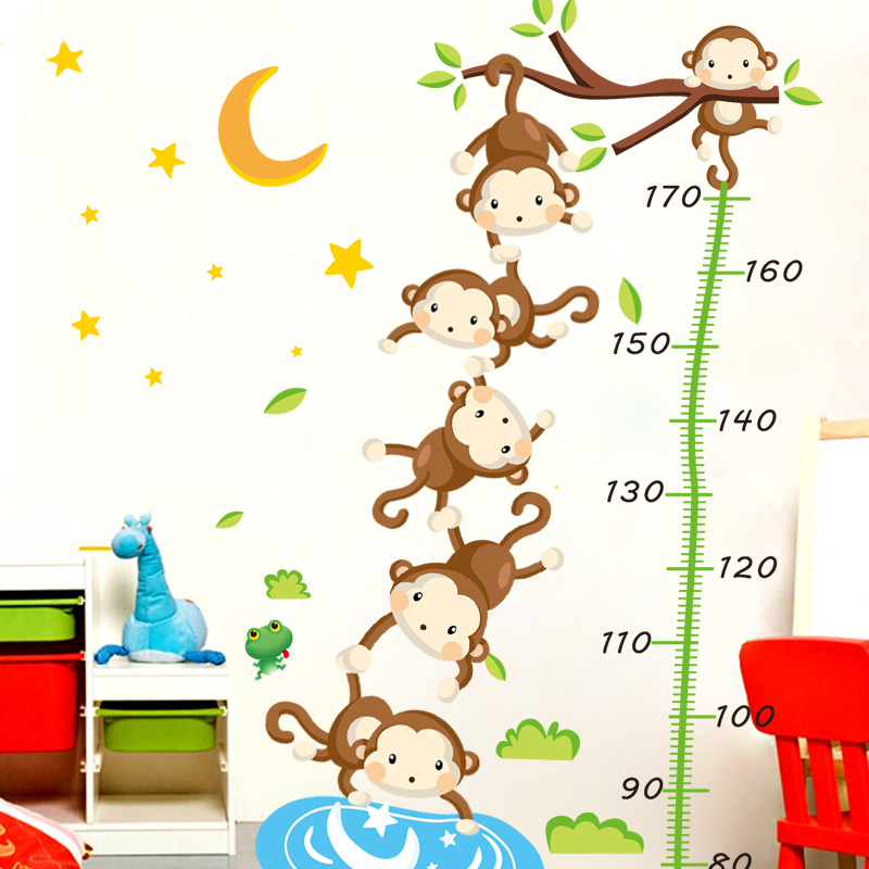 Children's cartoon monkey klimts measuring height stickers kindergarten decorative wall stickers living room bedroom self adhesive stickers can be removed