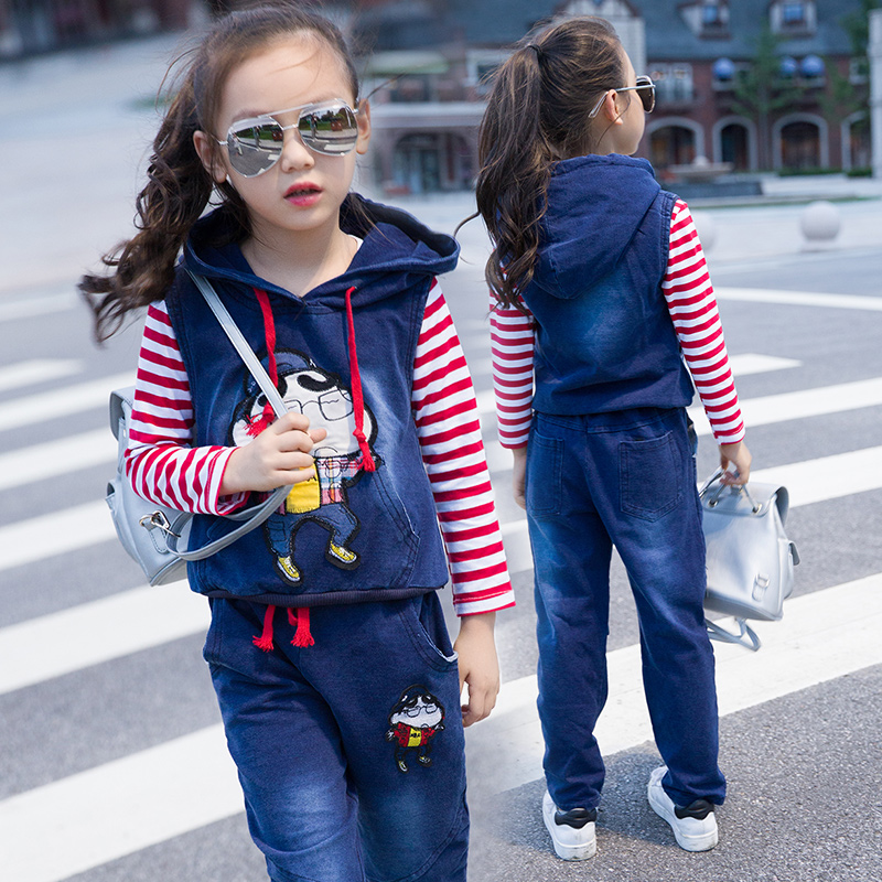 Children's clothing autumn sports suit female 2016 spring and autumn new girls casual striped cowboy suit three sets of children