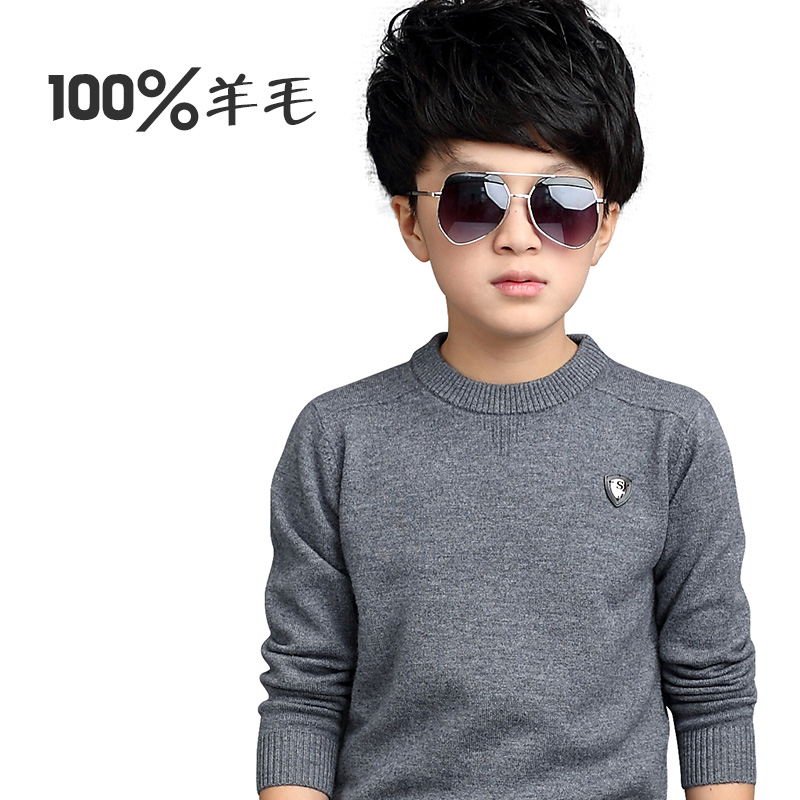 Children's clothing boy sweater hedging round neck sweater children sweater big virgin child dongkuan 12-15-year-old