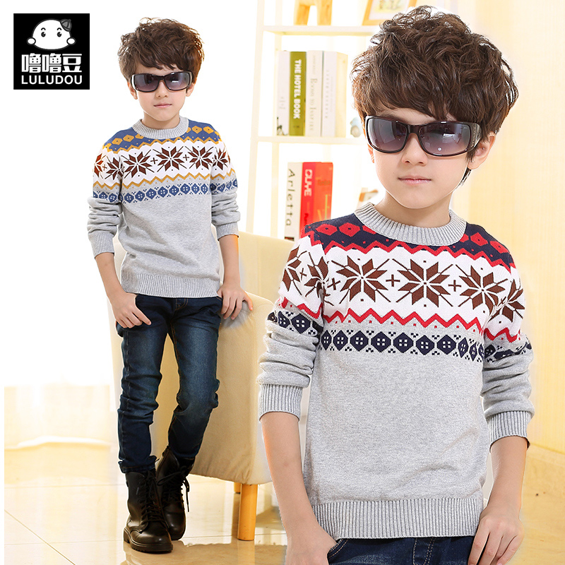 Children's clothing boy sweater thick winter big boy sweater children sweater round neck sweater hedging baby bottoming shirt tide