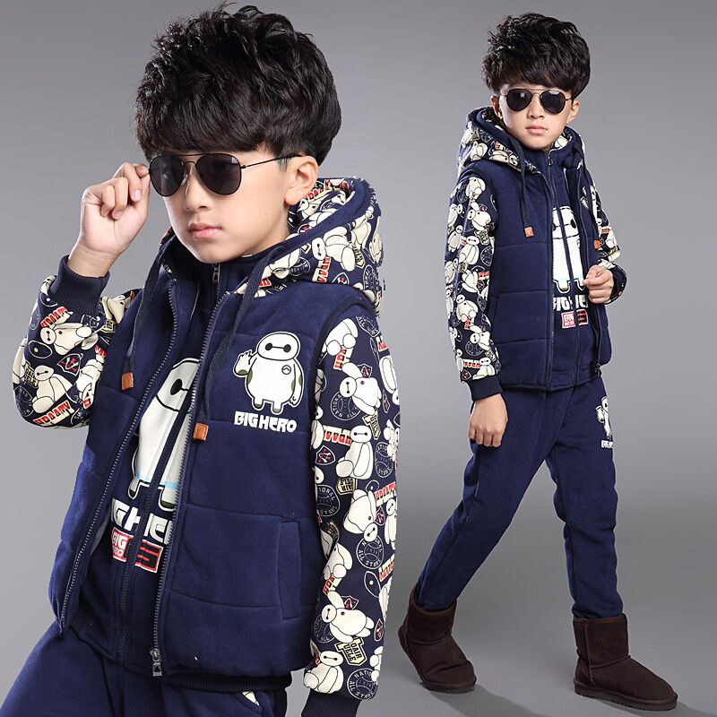 Children's clothing boys fall and winter clothes suit 2016 new big virgin 7 9 children 10 boys 12 wei clothes three sets of 15 Years of age