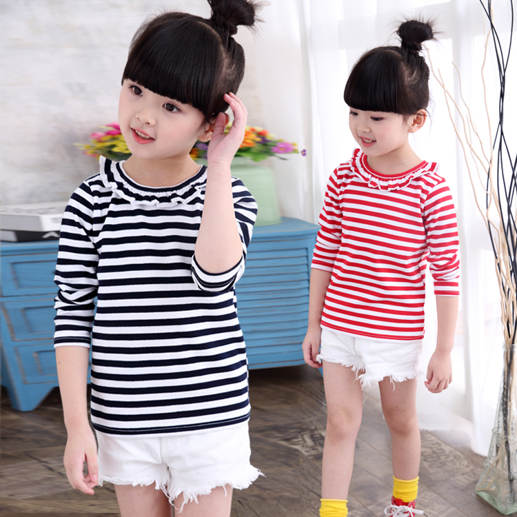 Children's clothing female 2016 autumn paragraph bottoming shirt striped cotton t-shirt korean version of the lotus leaf collar each of these years old female long sleeve coat