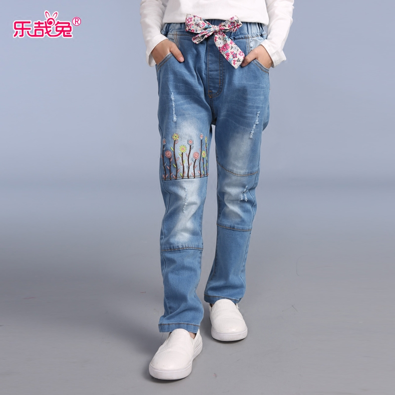 Children's clothing girls jeans models fall 2016 new wave of children's summer slim straight jeans long pants thin section