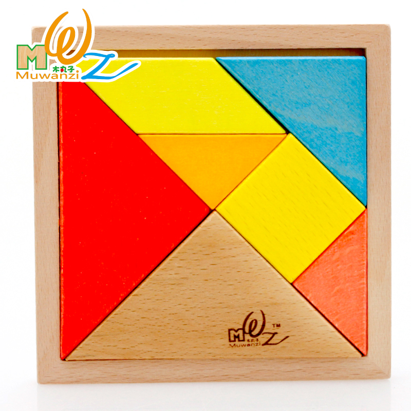 Children's educational toys wooden balls beech blocks of cognitive puzzle shape storybook tangram boutique tuba