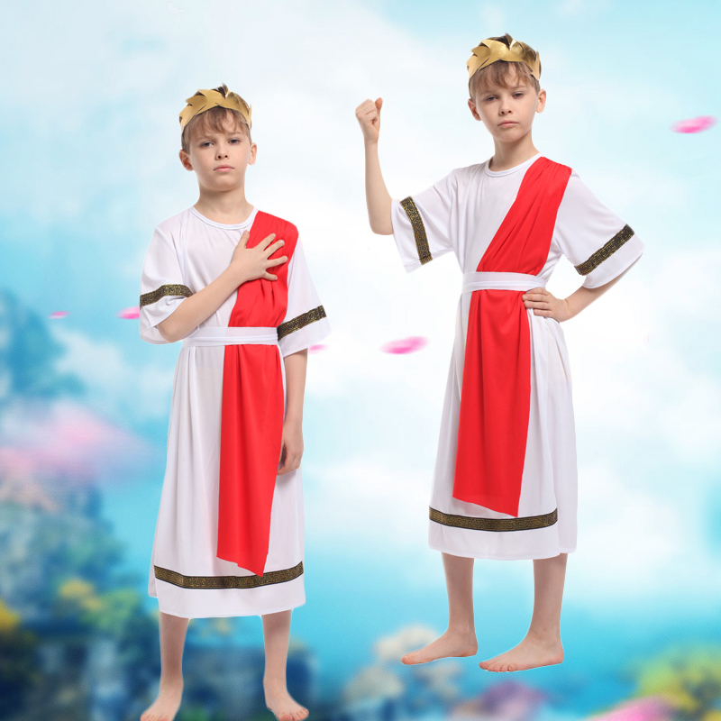 Children's halloween costume male expensive ethnic costumes of ancient greece egypt roman roman warrior prince clothes gown