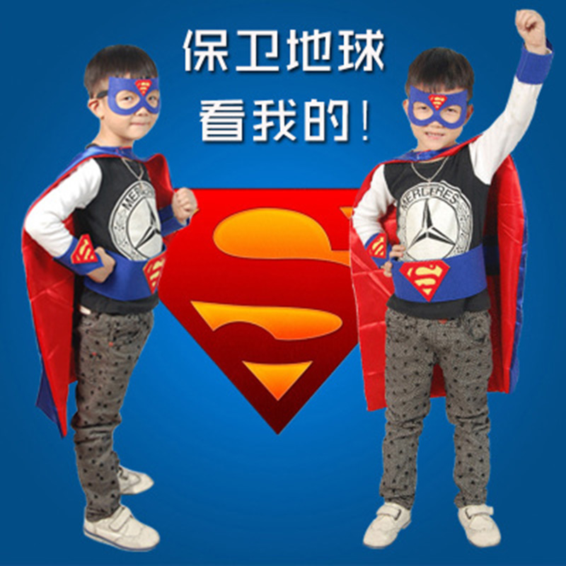 Children's halloween costumes for children of superman cape cloak clothes suit prom dress cosplay