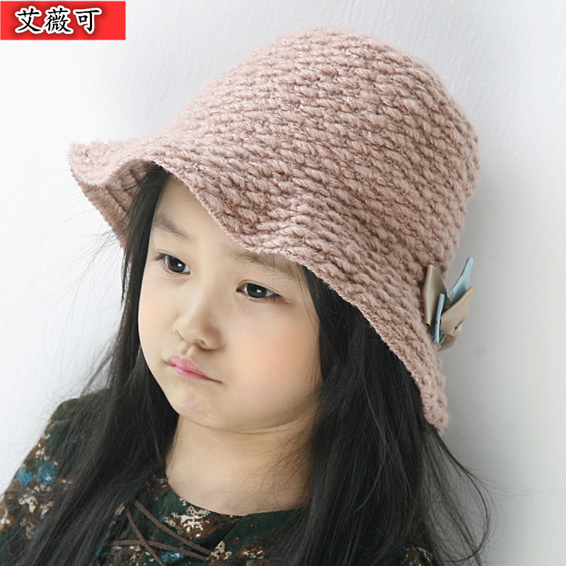 Get Quotations · Children s hats paternity autumn and winter korean baby  girls princess hat bucket hats winter hats wool a8e2864df48e