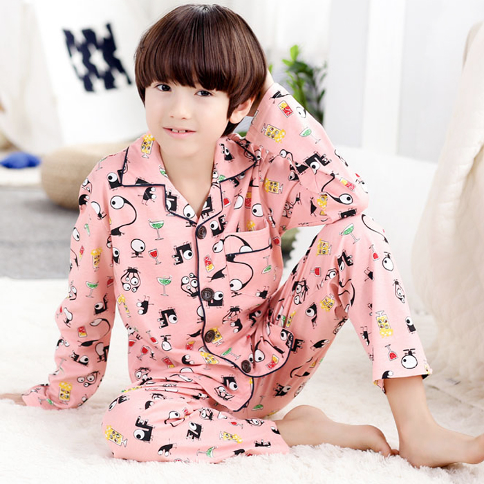 Children's pajamas boys cotton long sleeve spring and autumn boy big virgin autumn cartoon clothing tracksuit suit