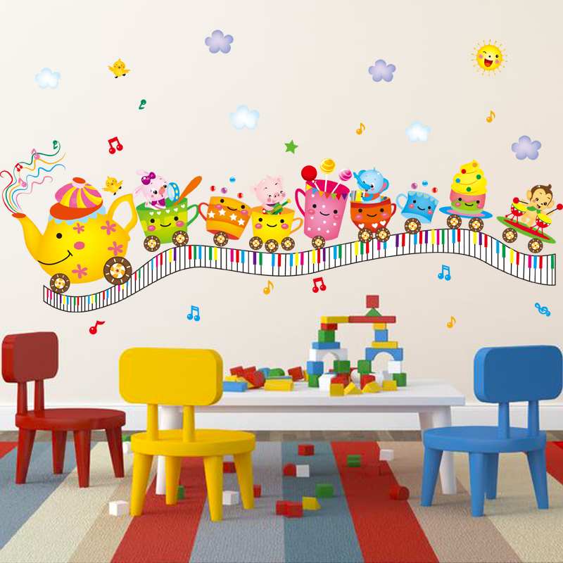Children's room furnished nursery decor removable wall stickers klimts cup kettle cartoon can love music
