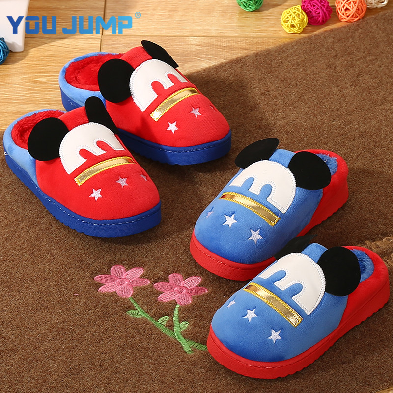 Children's slippers cotton slippers winter habitat home cotton slippers warm winter cute cartoon baby boys and girls slip wool slippers
